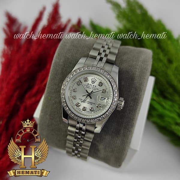خرید انلاین ساعت زنانه رولکس دیت جاست Rolex Datejust RODJL26501 نقره ای ، دور قاب نگین ، ایندکس نگین ، قطر 26 میلیمتر