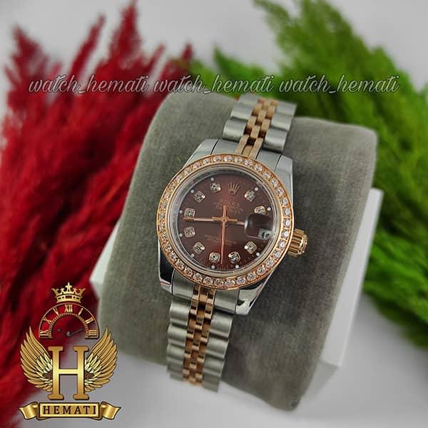قیمت ساعت زنانه رولکس دیت جاست Rolex Datejust RODJL26500 نقره ای رزگلد دور قای نگین ، قطر 26 میلیمتر