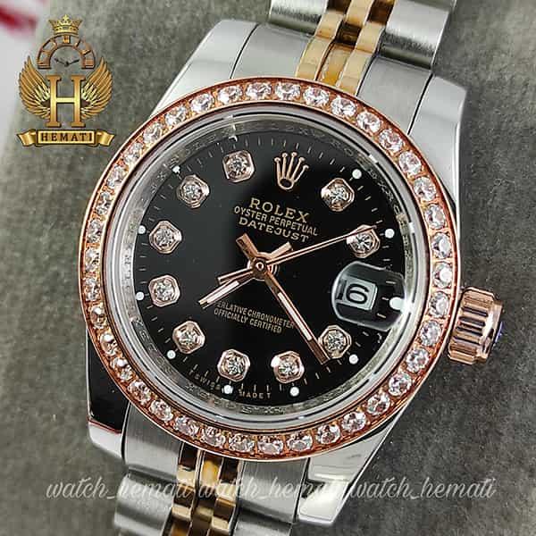 خرید ارزان ساعت زنانه رولکس دیت جاست Rolex Datejust RODJL26500 نقره ای رزگلد دور قای نگین ، قطر 26 میلیمتر