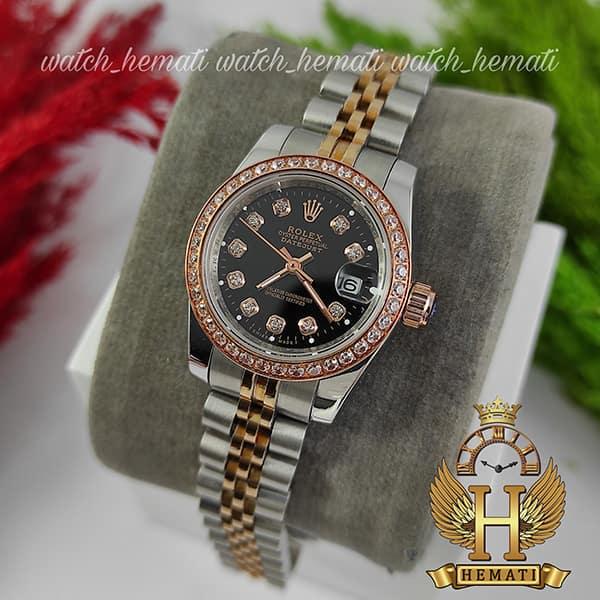 مشخصات ساعت زنانه رولکس دیت جاست Rolex Datejust RODJL26500 نقره ای رزگلد دور قای نگین ، قطر 26 میلیمتر