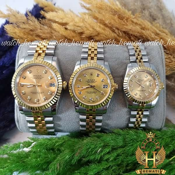 مشخصات ساعت ست مردانه و زنانه رولکس دیت جاست Rolex Datejust rodjst105 نقره ای طلایی صفحه طلایی ایندکس نگین