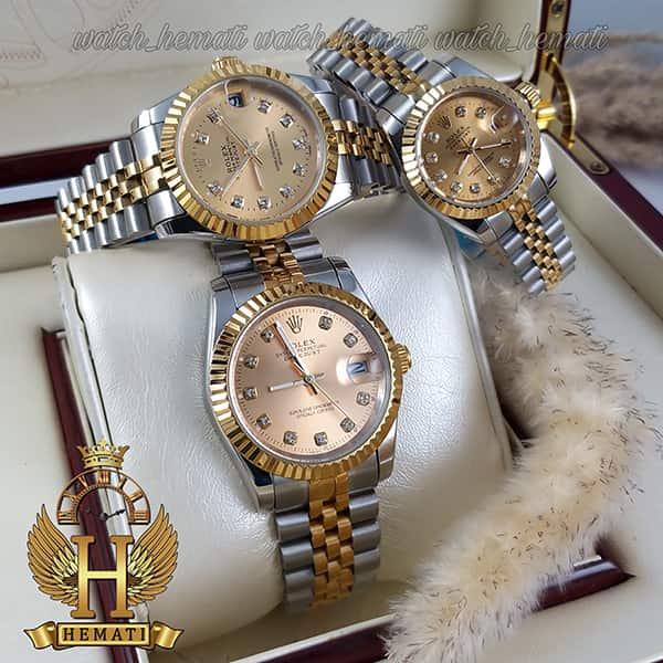 خرید اینترنتی ساعت ست مردانه و زنانه رولکس دیت جاست Rolex Datejust rodjst105 نقره ای طلایی صفحه طلایی ایندکس نگین