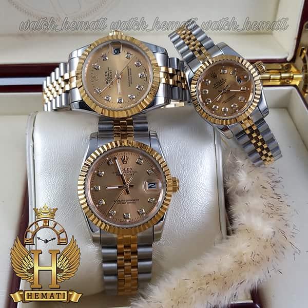 خرید ارزان ساعت ست مردانه و زنانه رولکس دیت جاست Rolex Datejust rodjst105 نقره ای طلایی صفحه طلایی ایندکس نگین