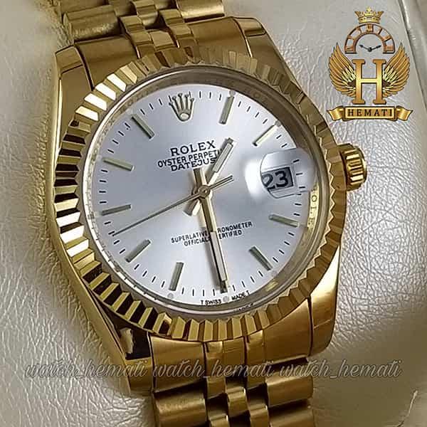خرید اینترنتی ساعت مردانه رولکس دیت جاست Rolex Datejust RODJM200 طلایی ایندکس خط