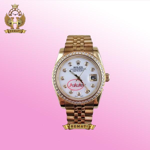 ساعت مردانه رولکس دیت جاست Rolex Datejust RODJM501 طلایی ، دور قاب و ایندکس نگین