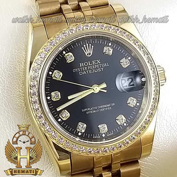 خرید ساعت مردانه رولکس دیت جاست Rolex Datejust RODJM501 طلایی ، دور قاب و ایندکس نگین صفحه مشکی