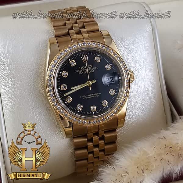 قیمت ساعت مردانه رولکس دیت جاست Rolex Datejust RODJM501 طلایی ، دور قاب و ایندکس نگین صفحه مشکی