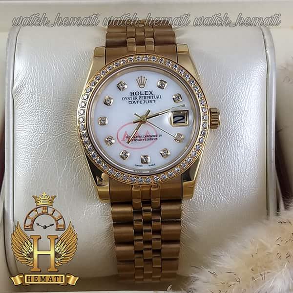 خرید اینترنتی ساعت مردانه رولکس دیت جاست Rolex Datejust RODJM501 طلایی ، دور قاب و ایندکس نگین صفحه سفید صدف
