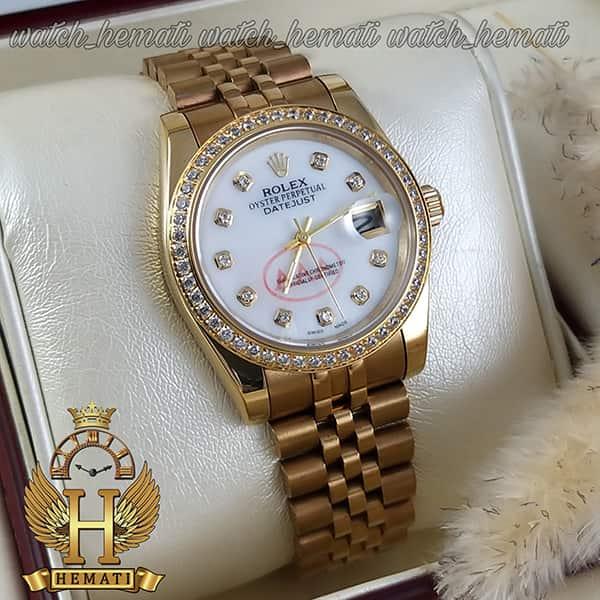 خرید ارزان ساعت مردانه رولکس دیت جاست Rolex Datejust RODJM501 طلایی ، دور قاب و ایندکس نگین صفحه سفید صدف