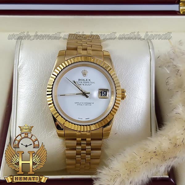 مشخصات ساعت مردانه رولکس دیت جاست Rolex Datejust RODJM600 قاب و بند طلایی صفحه مهندسی رنگ سفید