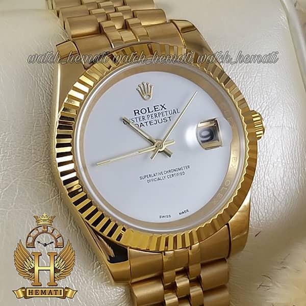 خرید ارزان ساعت مردانه رولکس دیت جاست Rolex Datejust RODJM600 قاب و بند طلایی صفحه مهندسی رنگ سفید