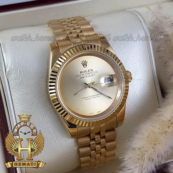 قیمت ساعت مردانه رولکس دیت جاست Rolex Datejust RODJM600 قاب و بند طلایی صفحه مهندسی رنگ طلایی