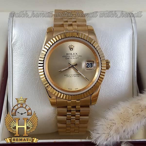 خرید انلاین ساعت مردانه رولکس دیت جاست Rolex Datejust RODJM600 قاب و بند طلایی صفحه مهندسی رنگ طلایی