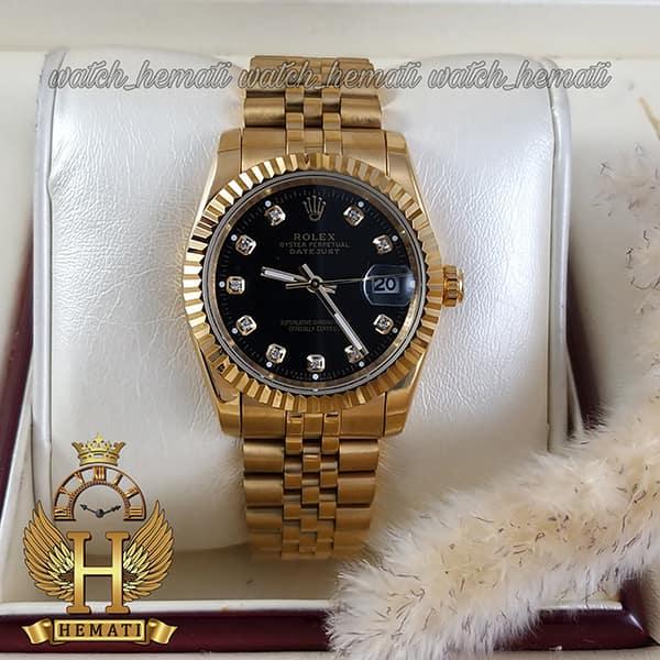 خرید ساعت مردانه رولکس دیت جاست Rolex Datejust RODJM101 طلایی ، دور قاب تراش ، ایندکس نگین ف صفحه مشکی