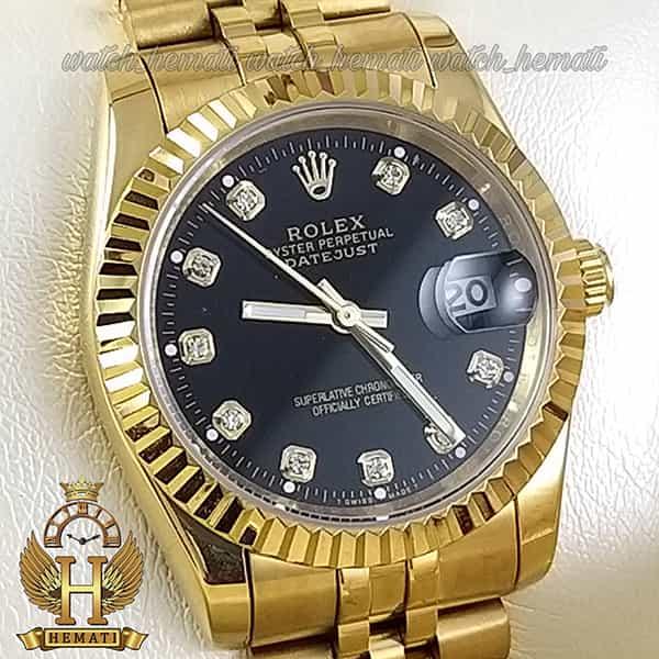مشخصات ساعت مردانه رولکس دیت جاست Rolex Datejust RODJM101 طلایی ، دور قاب تراش ، ایندکس نگین ف صفحه مشکی