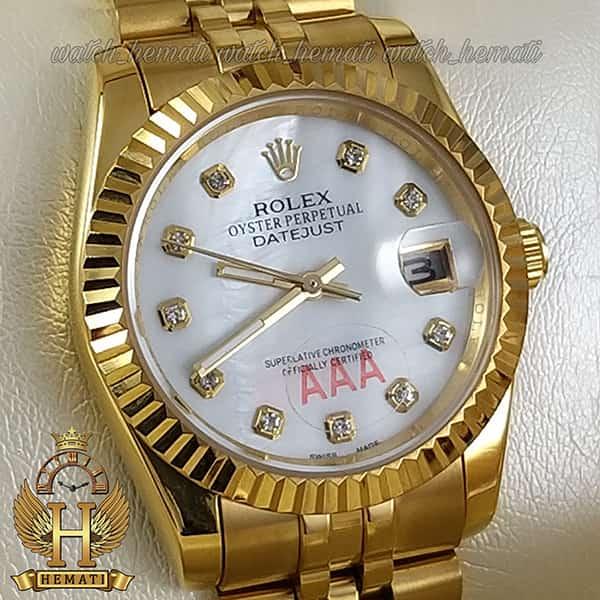 خرید اینترنتی ساعت مردانه رولکس دیت جاست Rolex Datejust RODJM101 طلایی ، دور قاب تراش ، ایندکس نگین ف صفحه سفید