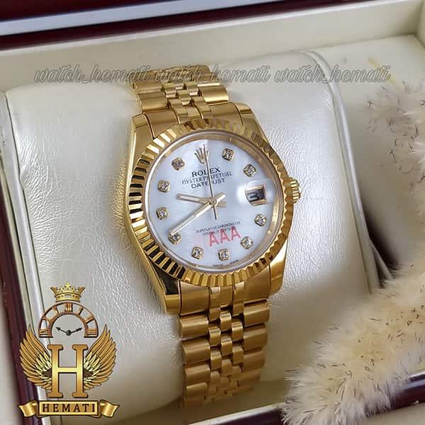 خرید انلاین ساعت مردانه رولکس دیت جاست Rolex Datejust RODJM101 طلایی ، دور قاب تراش ، ایندکس نگین ف صفحه سفید
