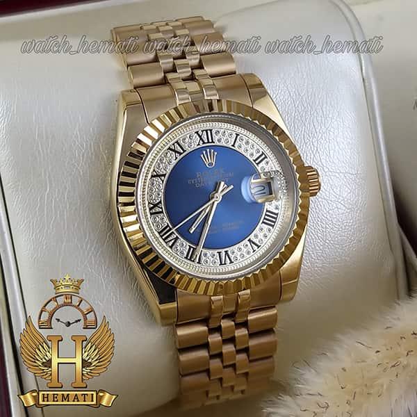 قیمت ساعت مردانه رولکس دیت جاست Rolex Datejust RODJM300 طلایی ، ایندکس یونانی ، صفحه آبی