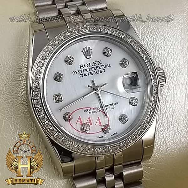 خرید ، قیمت ، مشخصات ساعت مردانه رولکس دیت جاست Rolex Datejust RODJM502 نقره ای ، ایندکس و دور قاب نگین دار