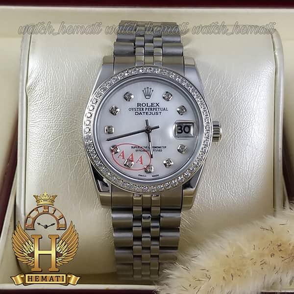 خرید اینترنتی ساعت مردانه رولکس دیت جاست Rolex Datejust RODJM502 نقره ای ، ایندکس و دور قاب نگین دار