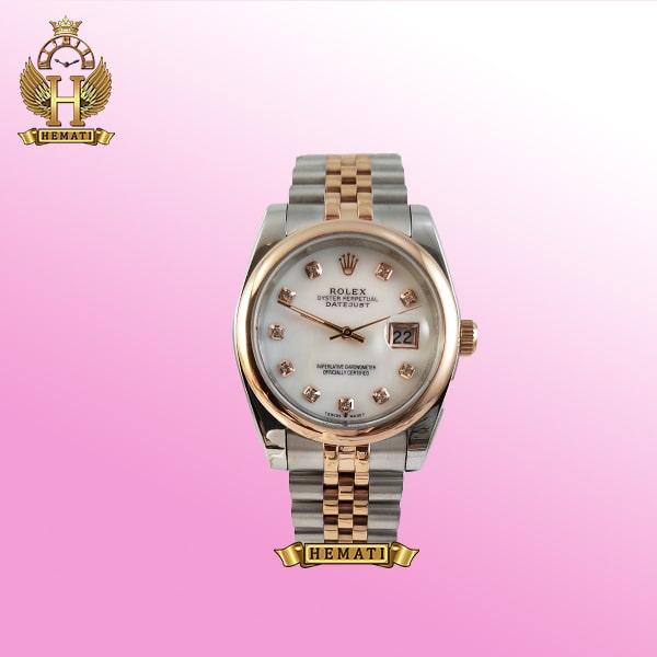ساعت مردانه رولکس دیت جاست Rolex Datejust RODJM404 نقره ای رزگلد ، دور قاب ساده