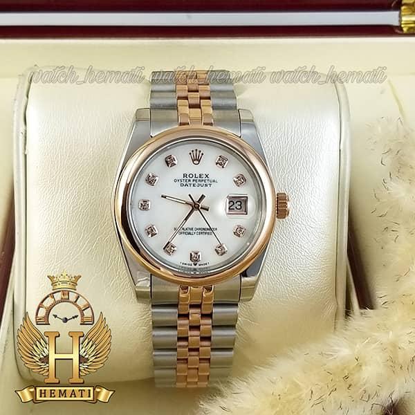 خرید ، قیمت ، مشخصات ساعت مردانه رولکس دیت جاست Rolex Datejust RODJM404 نقره ای رزگلد ، دور قاب ساده