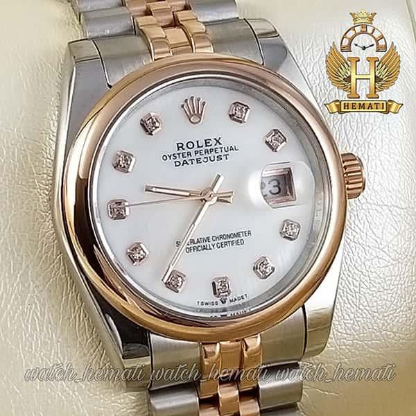 خرید اینترنتی ساعت مردانه رولکس دیت جاست Rolex Datejust RODJM404 نقره ای رزگلد ، دور قاب ساده