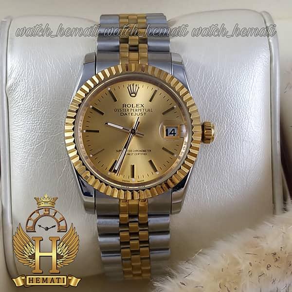 خرید ساعت مردانه رولکس دیت جاست Rolex Datejust RODJM201 نقره ای طلایی ، ایندکس خط ، صفحه طلایی