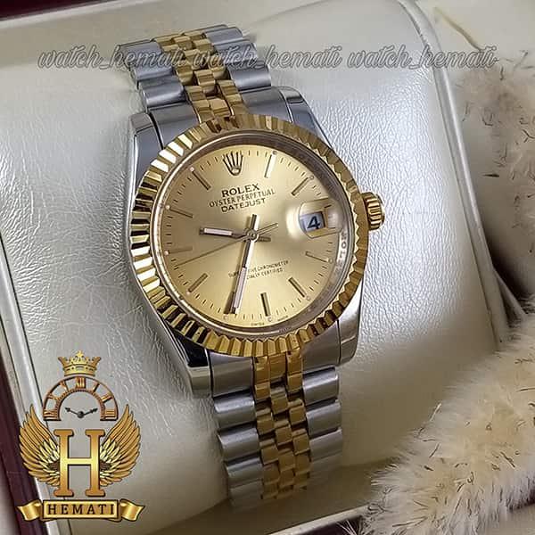 قیمت ساعت مردانه رولکس دیت جاست Rolex Datejust RODJM201 نقره ای طلایی ، ایندکس خط ، صفحه طلایی