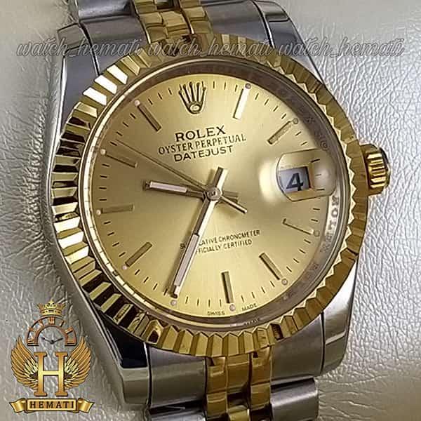 مشخصات ساعت مردانه رولکس دیت جاست Rolex Datejust RODJM201 نقره ای طلایی ، ایندکس خط ، صفحه طلایی