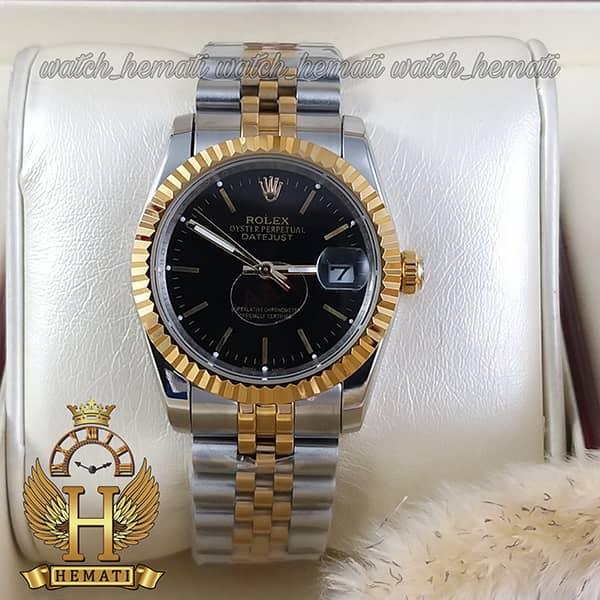خرید ارزان ساعت مردانه رولکس دیت جاست Rolex Datejust RODJM201 نقره ای طلایی ، ایندکس خط ، صفحه مشکی