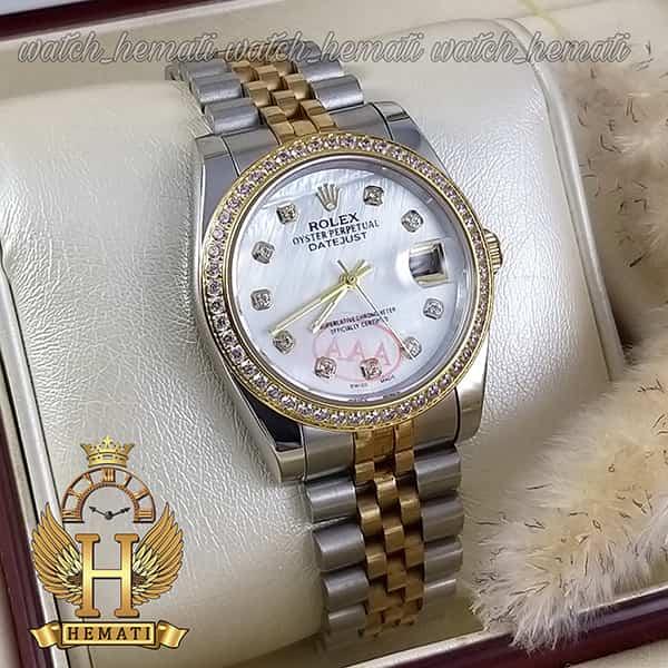 خرید ارزان ساعت مردانه رولکس دیت جاست Rolex Datejust RODJM500 نقره ای طلایی ، دور قاب نگین