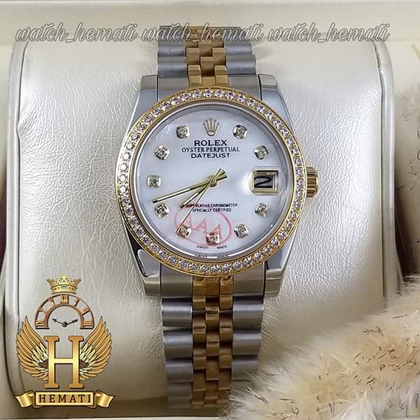 خرید اینترنتی ساعت مردانه رولکس دیت جاست Rolex Datejust RODJM500 نقره ای طلایی ، دور قاب نگین