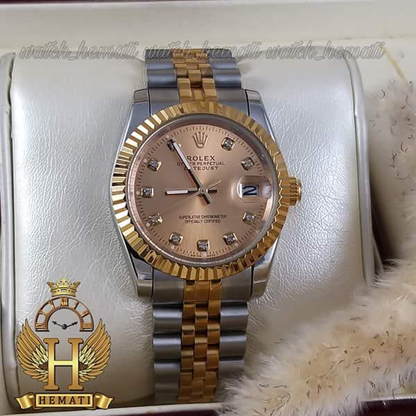 خرید ساعت مچی مردانه رولکس دیت جاست Rolex Datejust RODJM103 نقره ای طلایی دور قاب تراش ، صفحه طلایی