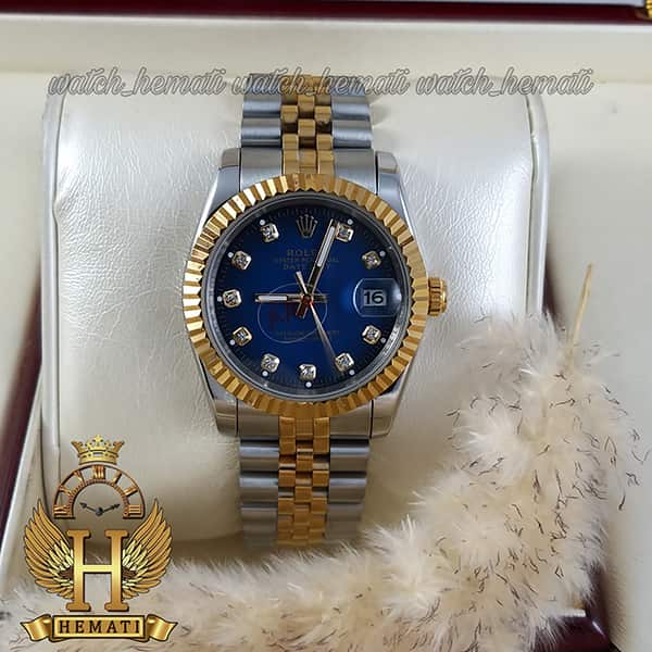 قیمت ساعت مچی مردانه رولکس دیت جاست Rolex Datejust RODJM103 نقره ای طلایی دور قاب تراش ، صفحه آبی