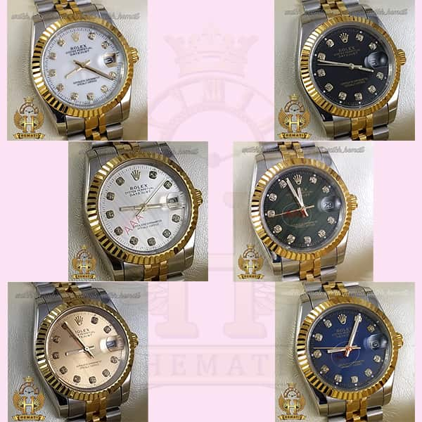خرید ، قیمت ، مشخصات ساعت مردانه رولکس دیت جاست Rolex Datejust RODJM103 نقره ای طلایی دور قاب تراش