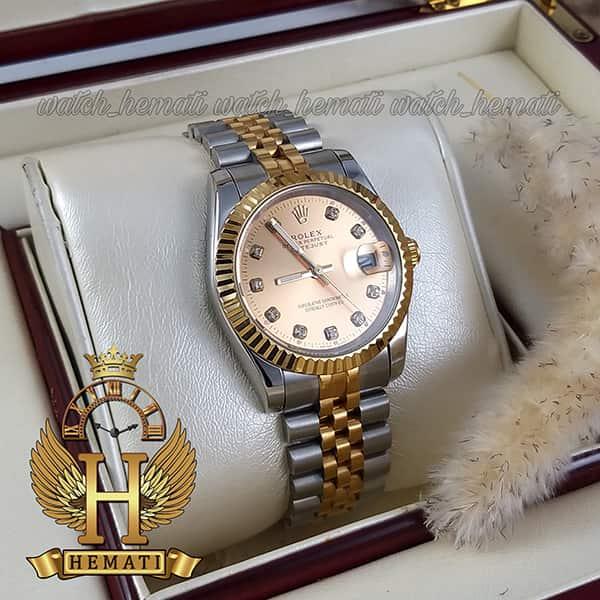 مشخصات ساعت مردانه رولکس دیت جاست Rolex Datejust RODJM103 نقره ای طلایی دور قاب تراش ، صفحه طلایی