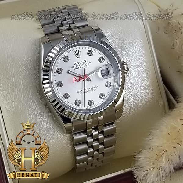 قیمت ساعت مردانه رولکس دیت جاست Rolex Datejust RODJM102 نقره ای ، دور قاب تراش ، ایندکس نگین ، صفحه نقره ای