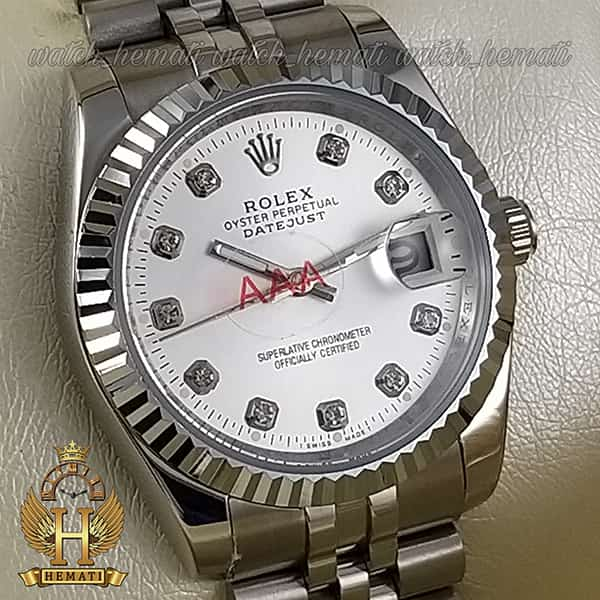 مشخصات ساعت مردانه رولکس دیت جاست Rolex Datejust RODJM102 نقره ای ، دور قاب تراش ، ایندکس نگین ، صفحه نقره ای
