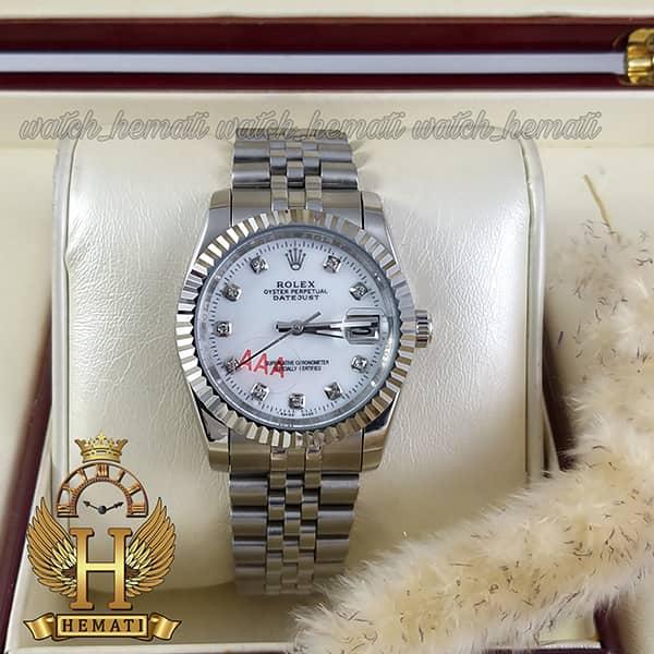 خرید ارزان ساعت مردانه رولکس دیت جاست Rolex Datejust RODJM102 نقره ای ، دور قاب تراش ، ایندکس نگین ، صفحه سفید صدف