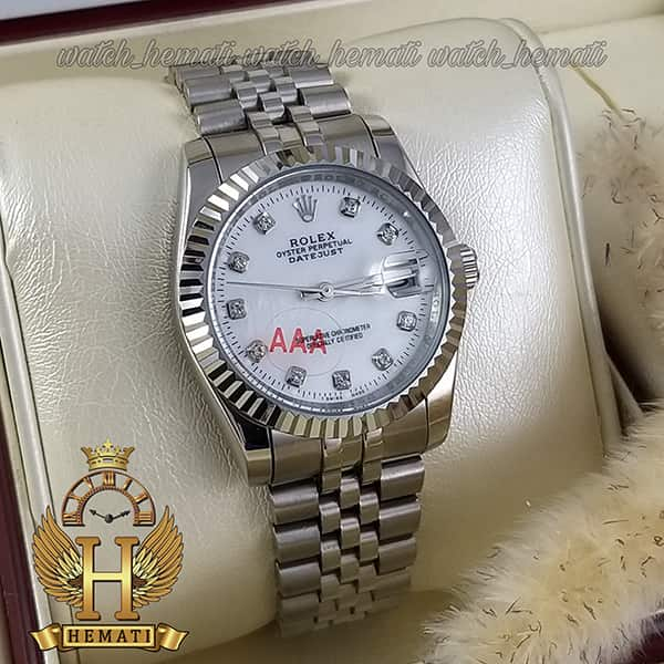 خرید اینترنتی ساعت مردانه رولکس دیت جاست Rolex Datejust RODJM102 نقره ای ، دور قاب تراش ، ایندکس نگین ، صفحه سفید صدف