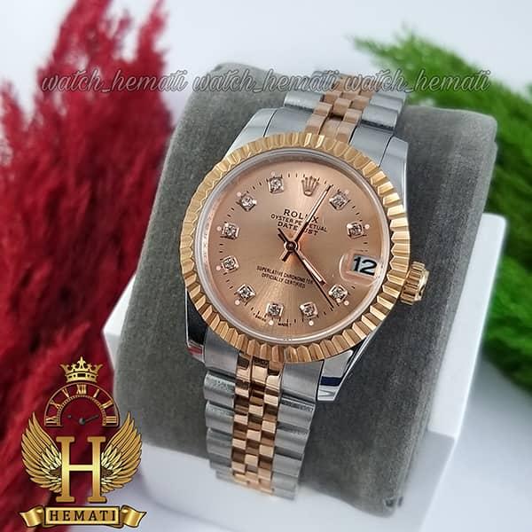 خرید ارزان ساعت زنانه رولکس دیت جاست Rolex Datejust RODJL110 نقره ای رزگلد صفحه رزگلد