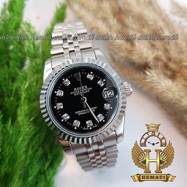 خرید اینترنتی ساعت زنانه رولکس دیت جاست Rolex Datejust RODJL107 نقره ای صفحه مشکی