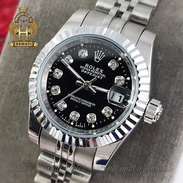 حراج ساعت زنانه رولکس دیت جاست Rolex Datejust RODJL107 نقره ای صفحه مشکی