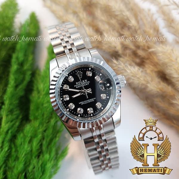 بهترین قیمت ساعت زنانه رولکس دیت جاست Rolex Datejust RODJL107 نقره ای صفحه مشکی