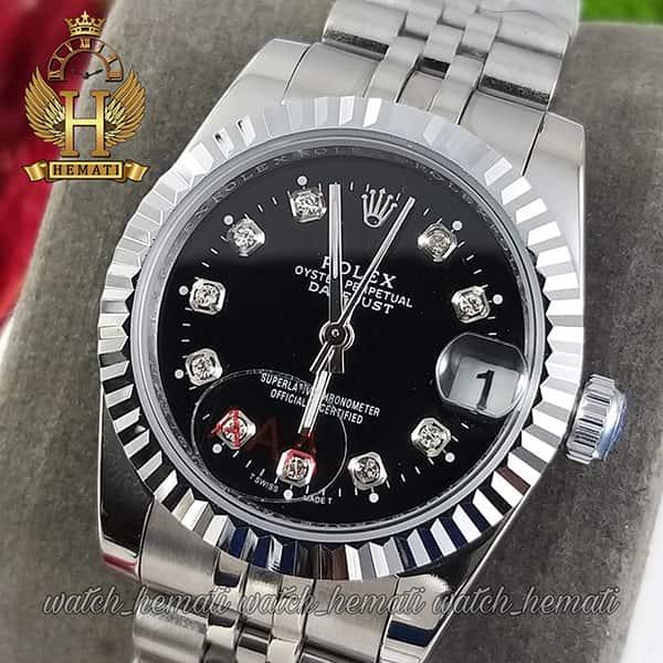 خرید انلاین ساعت زنانه رولکس دیت جاست Rolex Datejust RODJL107 نقره ای صفحه مشکی