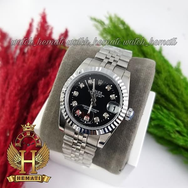 پر فروشترین ساعت زنانه رولکس دیت جاست Rolex Datejust RODJL107 نقره ای صفحه مشکی