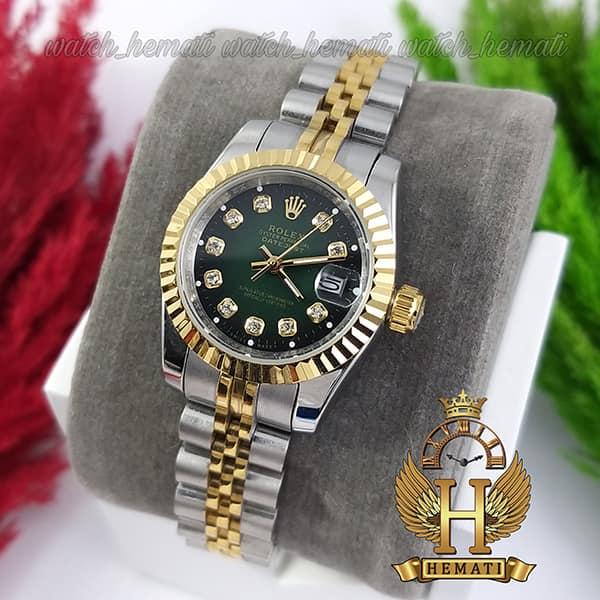 قیمت ساعت زنانه رولکس دیت جاست Rolex Datejust RODJL26102 نقره ای طلایی ، قطر 26 میلیمتر صفحه سبز