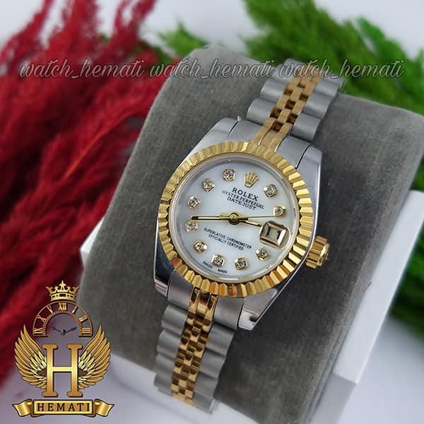 مشخصات ساعت زنانه رولکس دیت جاست Rolex Datejust RODJL26102 نقره ای طلایی ، قطر 26 میلیمتر صفحه سفید صدفی