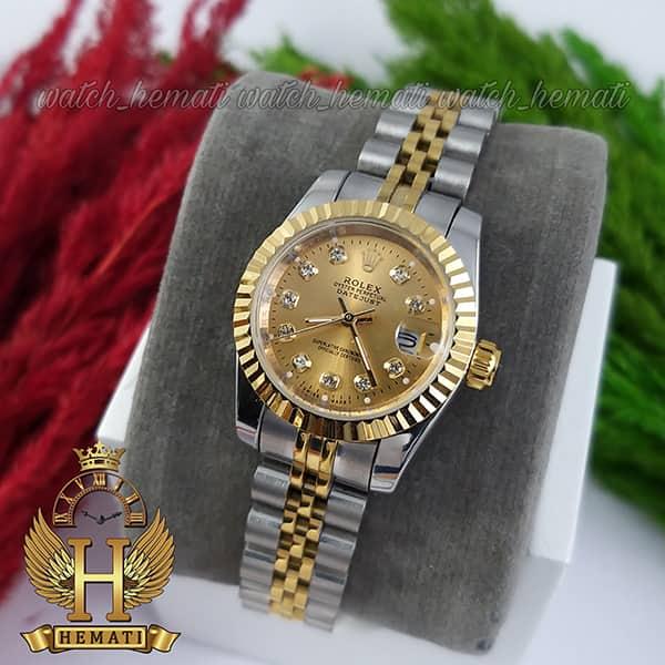 خرید ارزان ساعت زنانه رولکس دیت جاست Rolex Datejust RODJL26102 نقره ای طلایی ، قطر 26 میلیمتر صفحه طلایی